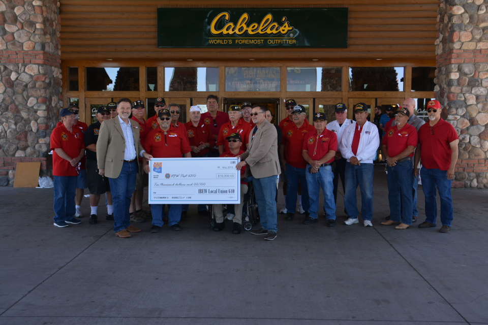 5/27/19 - IBEW DONATION FOR POST BUILDING FUND AT CABELAS IN GLENDALE
